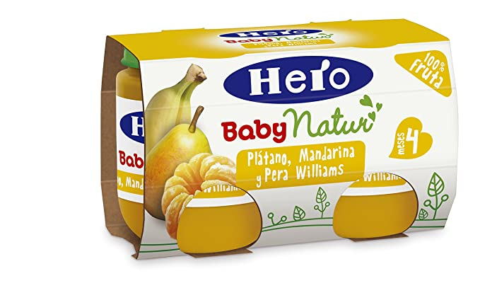 Hero Baby - Platano Mandarina Pera Williams 4 Meses 240 gr - Pack de 6 (