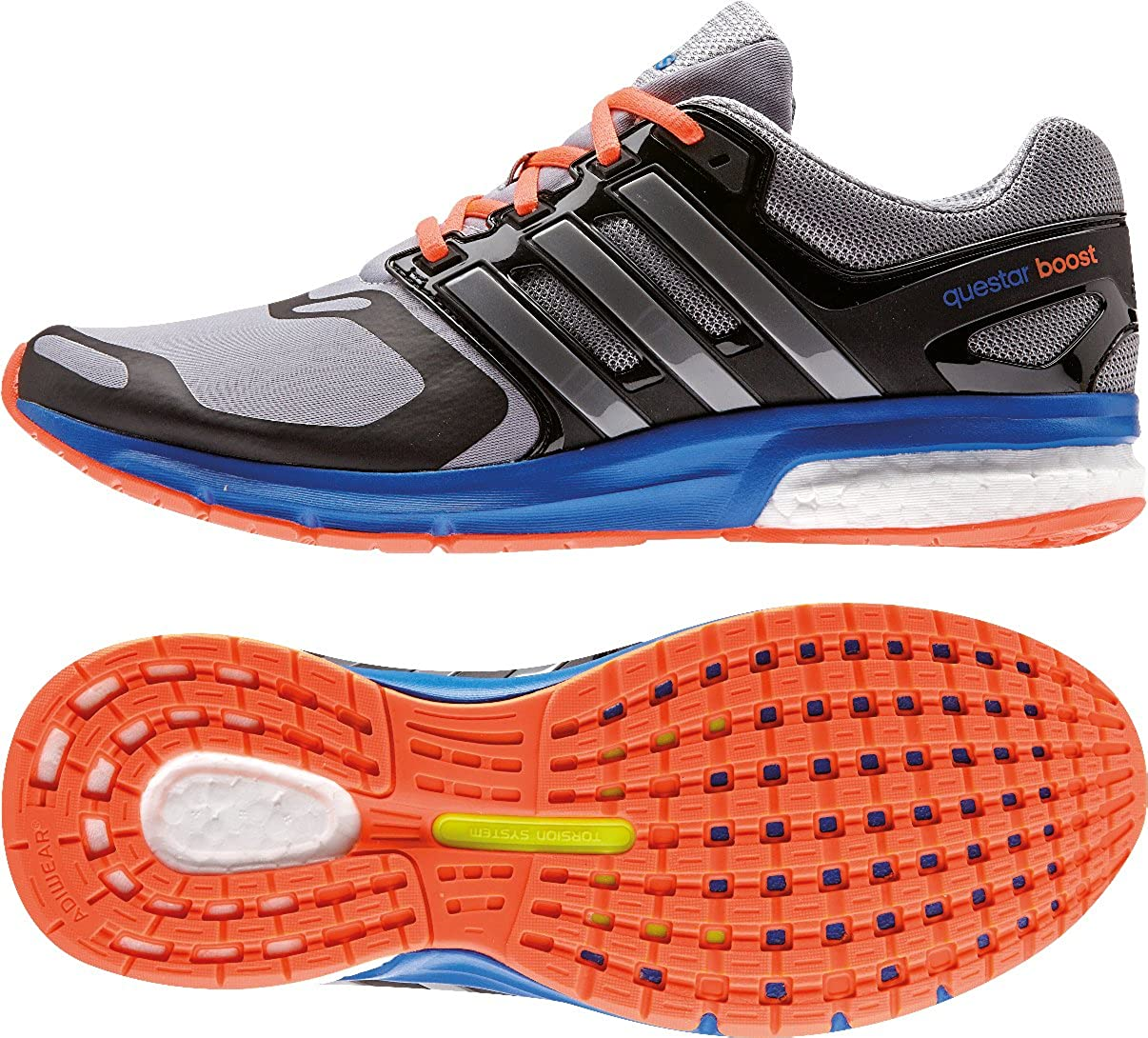 adidas Questar Boost TF M - Zapatillas de Running para Hombre, Color Gris/Azul/Negro/Naranja, Talla 44: Amazon.es: Zapatos y complementos