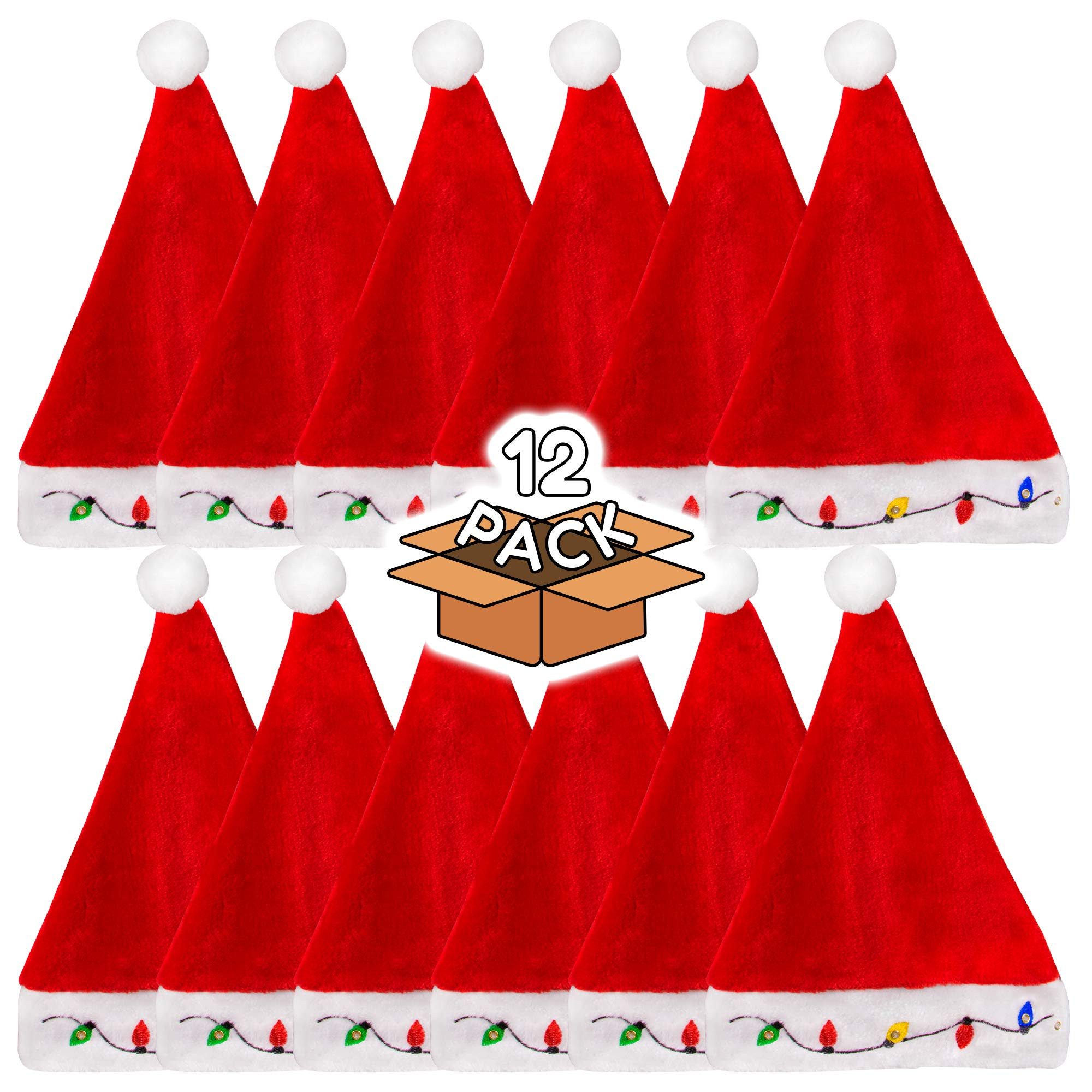 LED Light-up Christmas Bulb Plush Santa Hat for Adults and Kids - 12 Pack