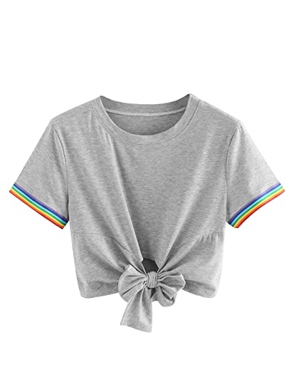 f68f38b32c5 Image Unavailable. Image not available for. Color  SweatyRocks Women s  Loose Short Sleeve Summer Crop T-Shirt Tops ...