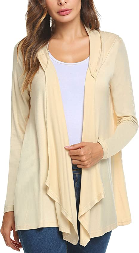 Zeagoo Womens Long Sleeve Draped Open Front Cardigan Sweater with Pockets