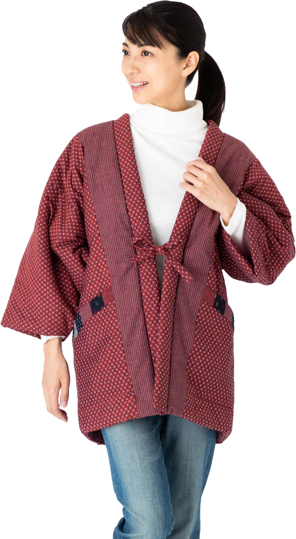 Hanten Cotton Jacket Made in Japan Kimono-Style Womens Red