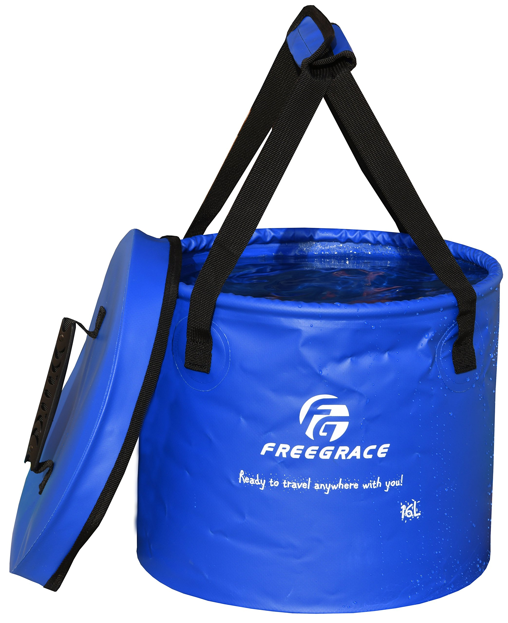 Freegrace Premium Collapsible Bucket -Multifunctional Folding Bucket -Perfect Gear for Camping, Hiking & Travel (Navy Blue, 16L(Upgraded)) by Freegrace