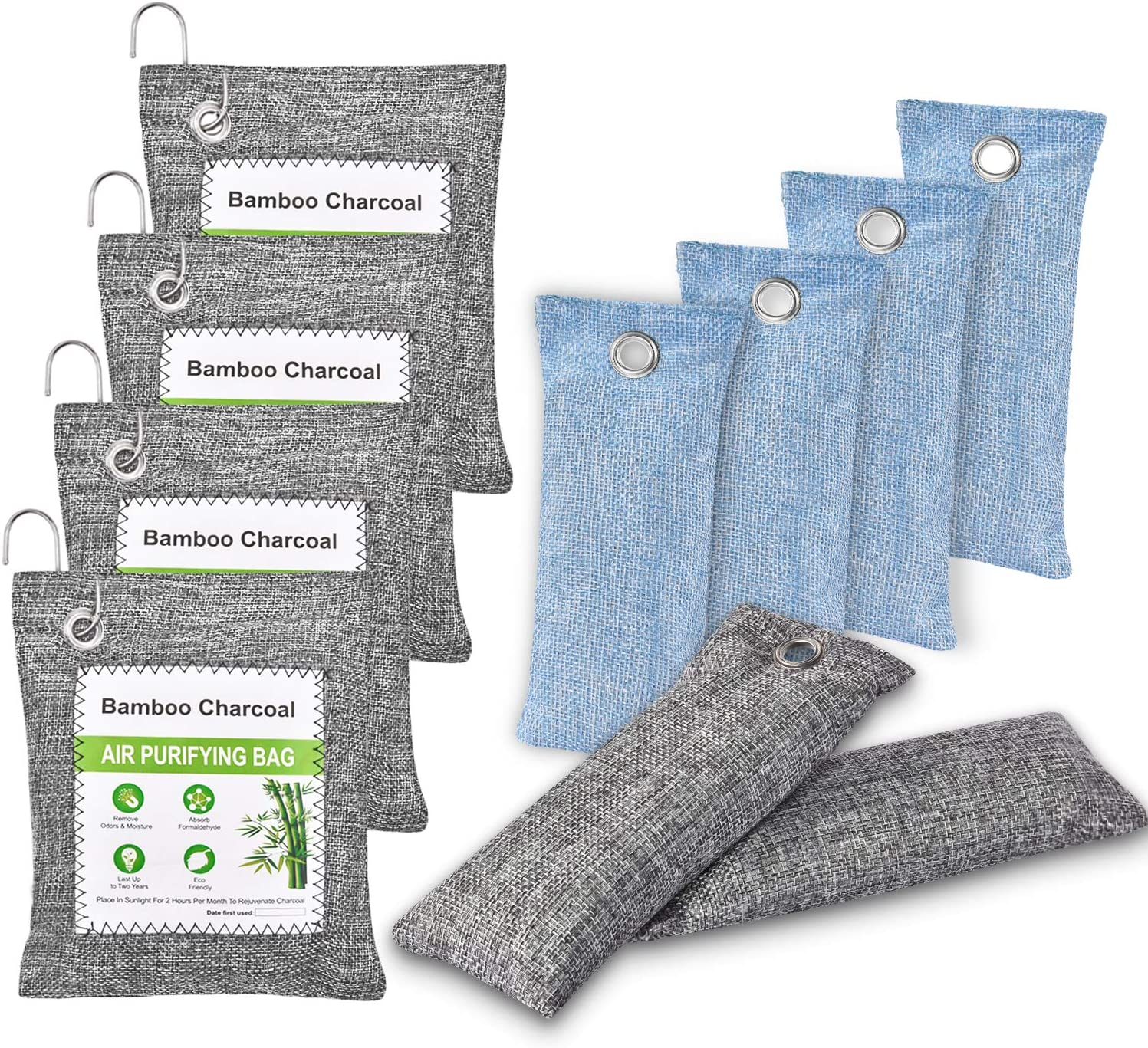10 Pack Bamboo Charcoal Air Purifying Bag with 4 hooks, Activated Charcoal Bags Odor Absorber, Nature Fresh Charcoal Odor Eliminator Bags for Home, Car, Pet, Shoes, Gym Bag