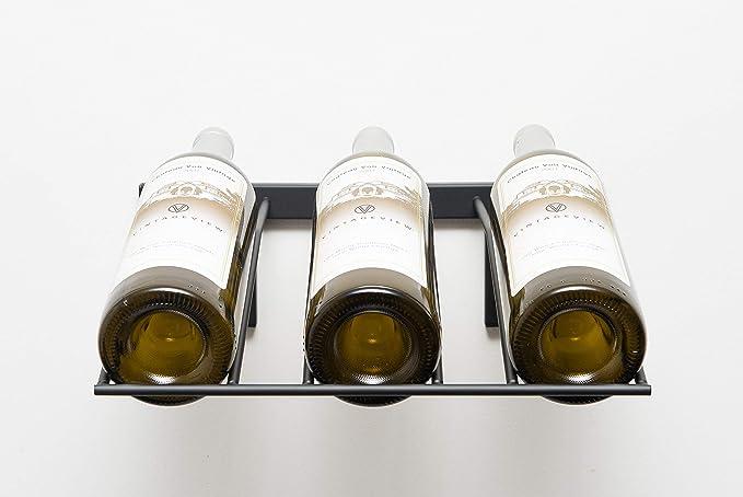 Wall Mounted Steel Wine Rack Label View Display Mat Black, 12 Bottles Y-Furniture Wall Series