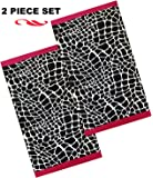 "Pink and Black Giraffe 100% Cotton Oversized 34"" Wide x 65"" Long Beach Towel Sale - Set Of 2"