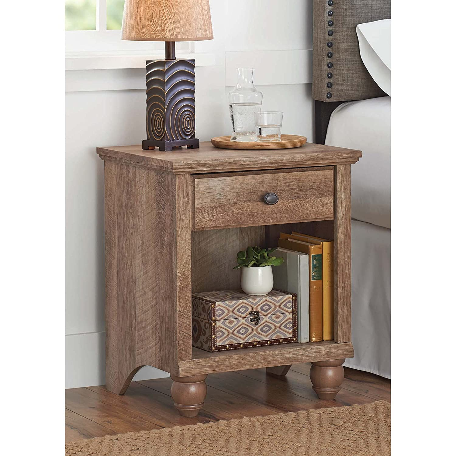 Amazon.com: Better Homes And Gardens Crossmill Collection End Table,  Weathered: Kitchen U0026 Dining Design Inspirations