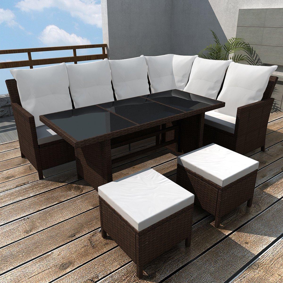 SSITG Poly Rattan Gartenmöbel Gartenset 8 Personen Lounge ...