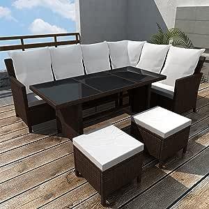 LD Poly Rattan Muebles de jardín jardín Conjunto de 8 Personas Lounge Asiento Grupo Jardín de Color Marrón: Amazon.es: Jardín