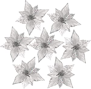 FUNARTY Glitter Poinsettia Christmas Tree Ornaments 10-Pack Artificial Christmas Flowers for Christmas Tree Wreaths Garland Holiday Decorations, 8.3-inch (Silver)