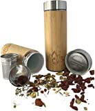 Ceramic Bamboo Coffee Mug with Stainless Steel Lid Double-Wall Vacuum Insulated All-in-One Travel Mug Tea Fruit Infuser 350ml 12oz