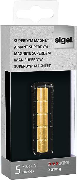 Sigel GL718 - Pack de 5 imanes de neodimio C5 para pizarra de cristal magnética, 1 x 1 cm, diseño cilindro, color dorado: Amazon.es: Oficina y papelería