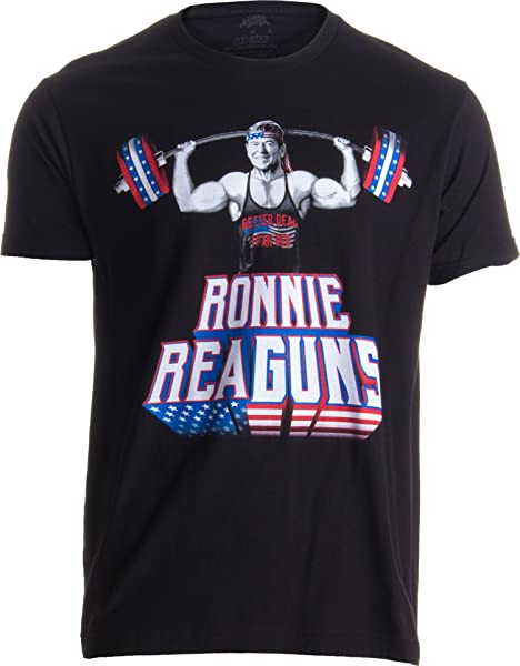 Ronnie Reaguns Funny Muscle Weight Lifting Work Out Patriot Merica Usa Tshirt