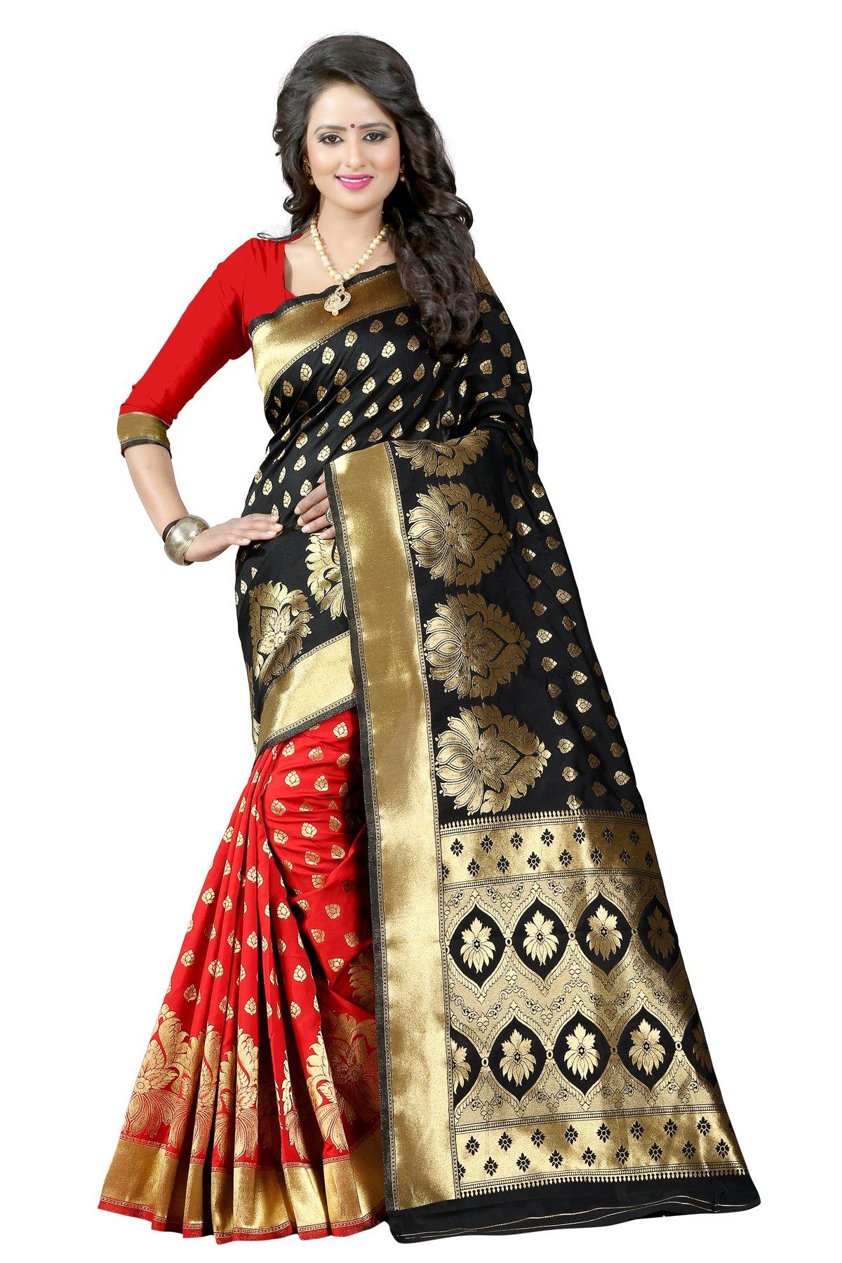 New indian/pakistani Ethnic Designer Multi Color Banarasi Silk Party Wedding Saree 750 (Black & red)
