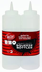 Tablecraft 12 oz Clear Heavy Duty Squeeze Bottle (2 Pack)