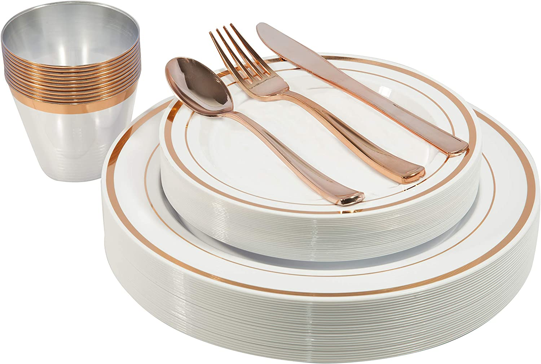 Juego de cubertería con platos dorados, vasos y cubiertos de plástico, 150 piezas oro rosa