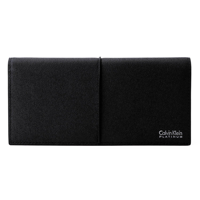 [名入れ可] カルバンクライン プラティナム Calvin Klein PLATINUM レザー ロングウォレット 本革 フラップ 二つ折り 財布 B07CJ1KMXC 名入れあり|ブラック ブラック 名入れあり