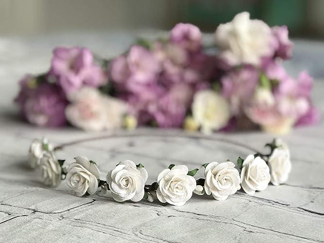 Amazon White Flower Crown Bridal Flower Crown Floral Crown