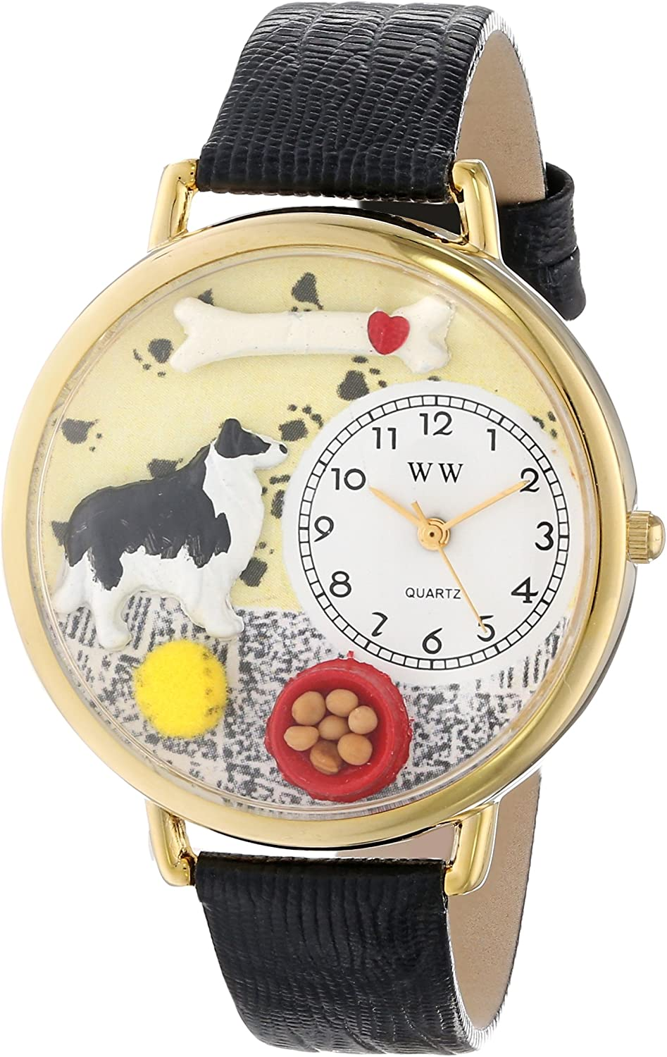Whimsical Watches Unisex G0130028 Border Collie Black Skin Leather Watch