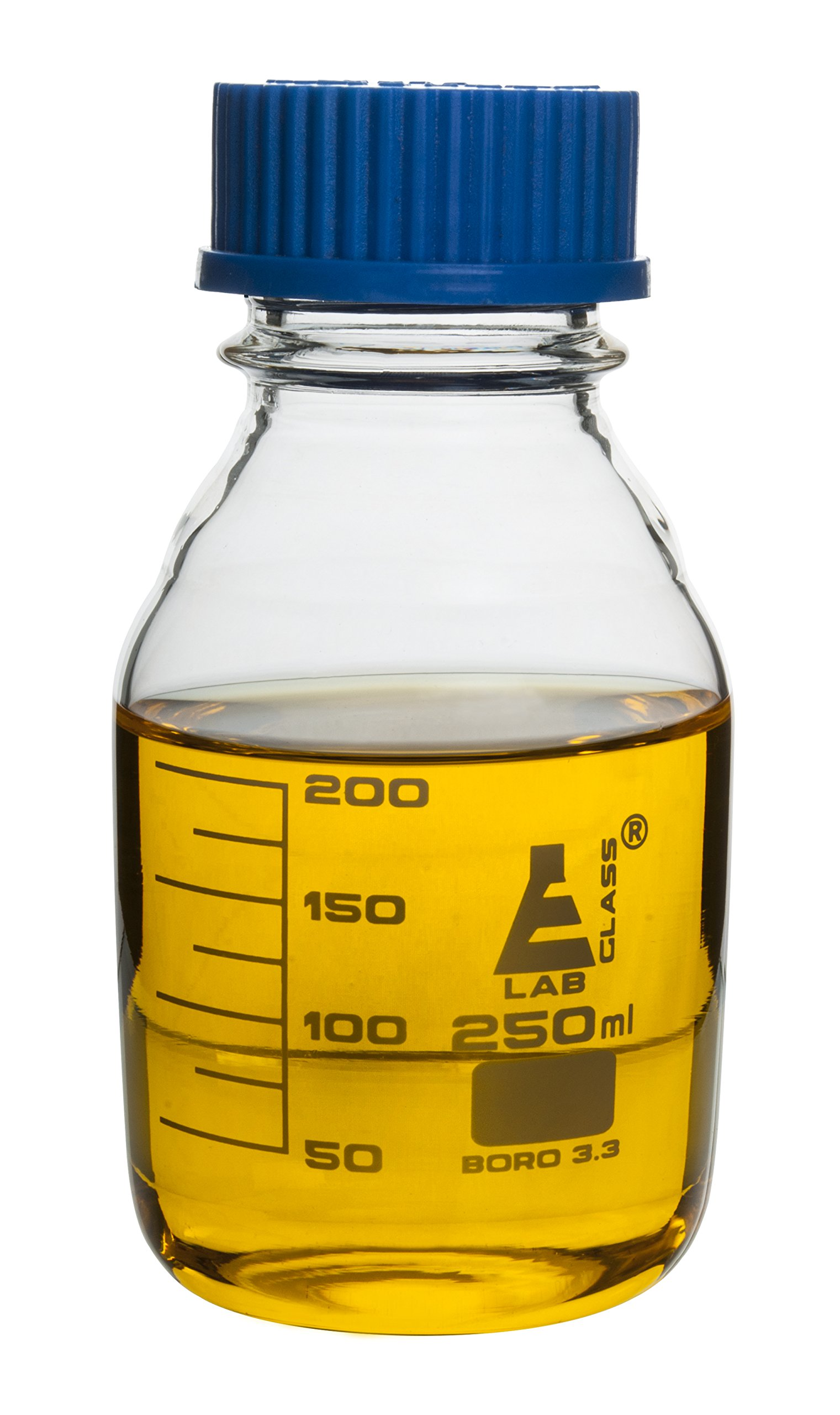 Eisco Labs 250ml Clear Reagent Bottle with Screw Cap and 25ml Graduations