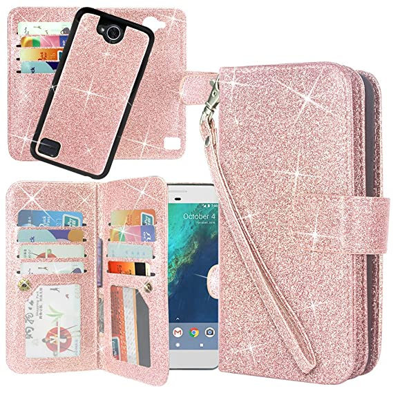 newest 1e384 08227 LG X Power 2 Case, LG X Charge/LG Fiesta LTE/LG K10 Power/LG LV7 Case,  Linkertech Detachable 2 in 1 Glitter Shiny PU Leather Flip Wallet Case with  ...