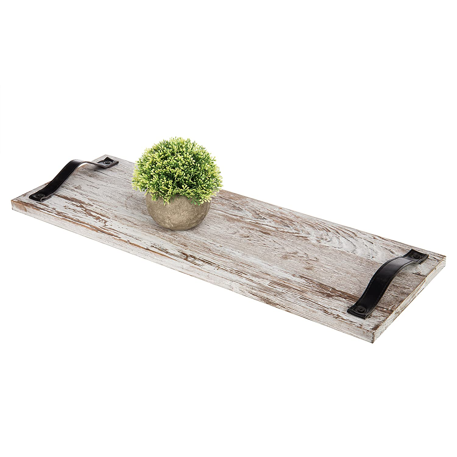 MyGift 24-Inch Graywashed Wood Plank Serving Trays with Strap Handles