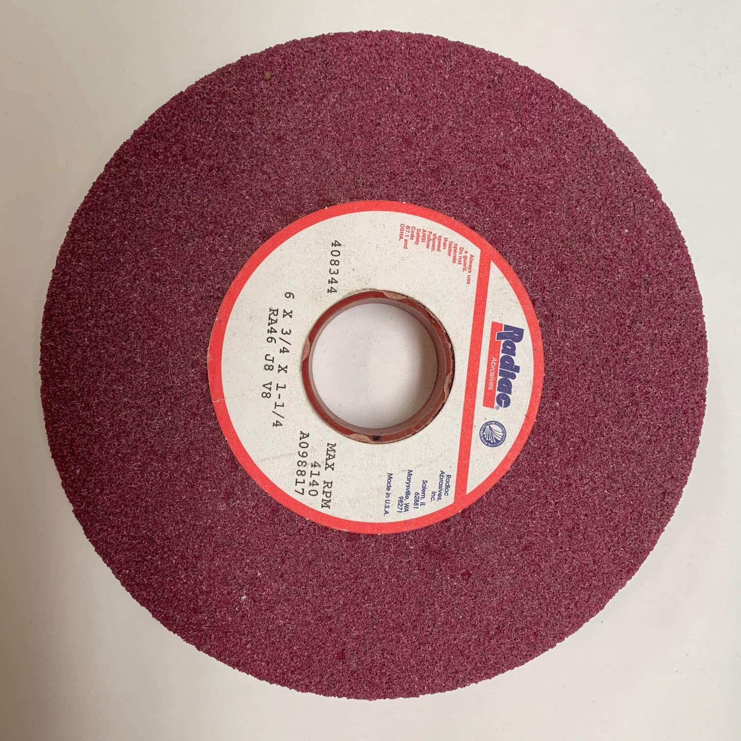 6 x 3/4 x 1-1/4 RA46 J8 V8 RADIAC Ruby RED Grinding Wheel