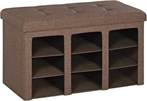 HOMCOM Modern Folding Storage Cabinet Ottoman Bench Padded Seat Foot Rest for Bedroom & Hallway with 9 Cubes, Brown