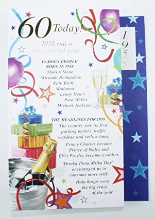 60 Today 1958 Special Year Born Happy Birthday Card Facts Quality