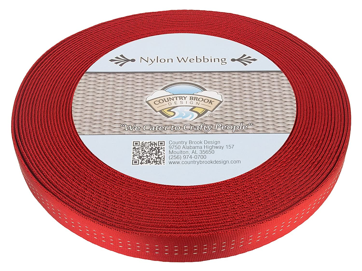 Country Brook Design 1 Inch Red Climbing Spec Tubular Nylon Webbing, 10 Yards 4336858530