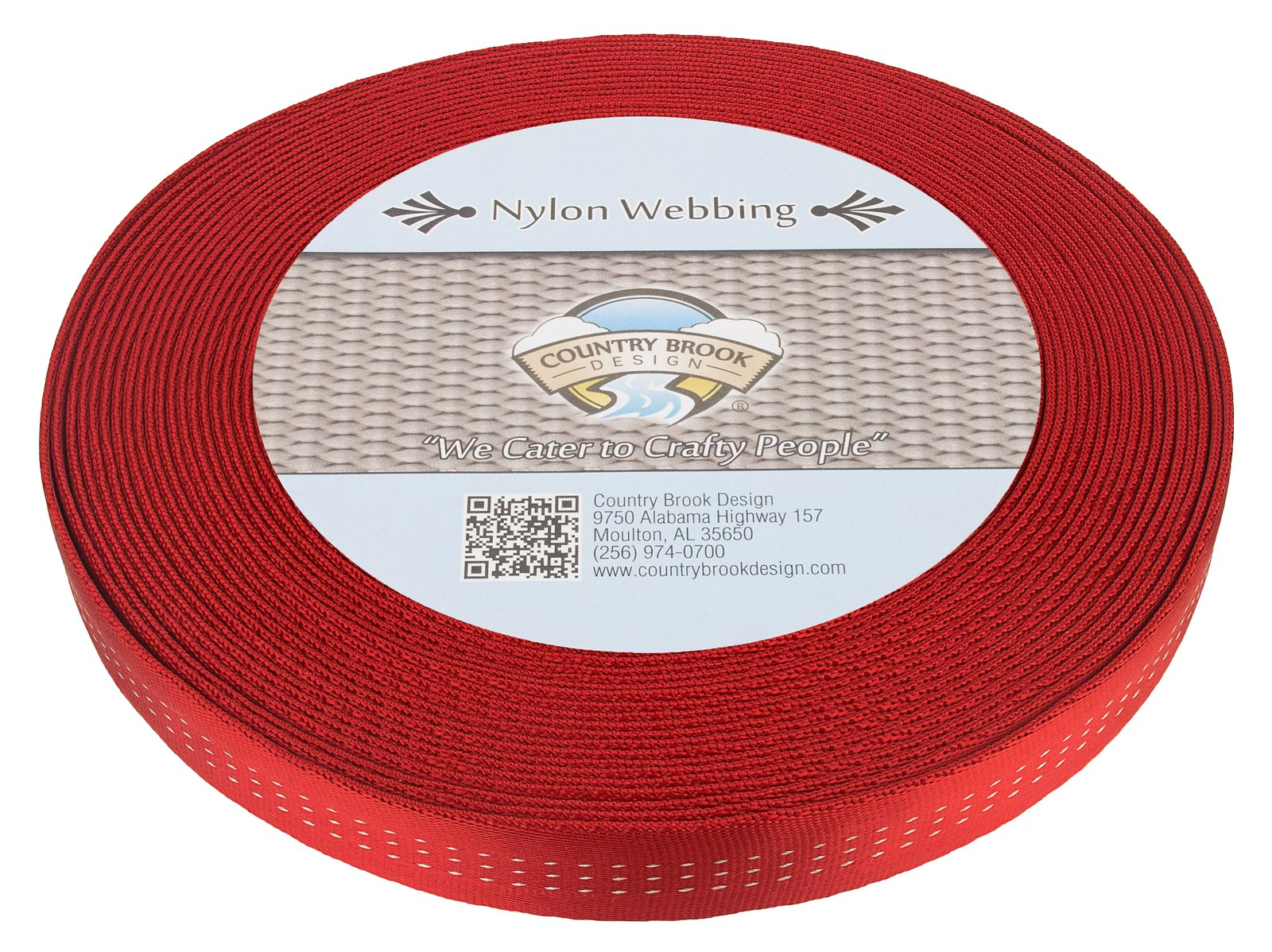 Country Brook Design 1 Inch Red Climbing Spec Tubular Nylon Webbing, 100 Yards