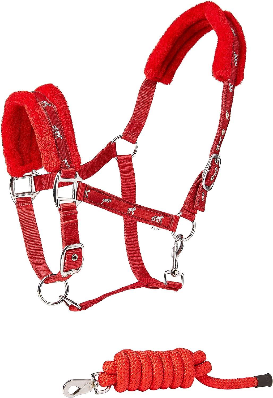 Cwell Equine - Cabestro Acolchado de Piel de Caballo + Correa a Juego, Color Rojo