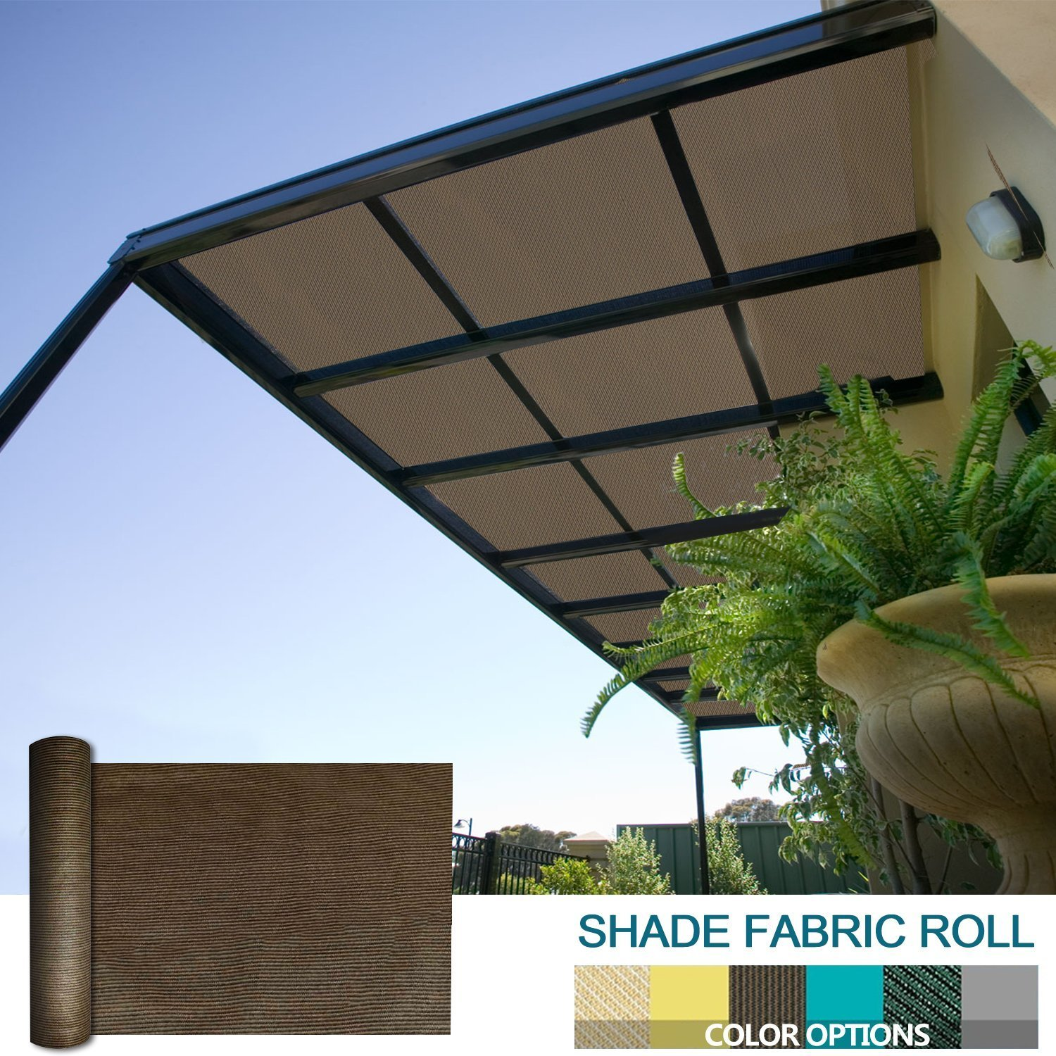 Coarbor 16Ft x 13Ft Shade Cloth Pergola Patio Cover Provide Shade Fabric Roll Customized Mesh Screen Heavy Duty Provide Privacy Permeable UV Resistant Make to Order- Brown