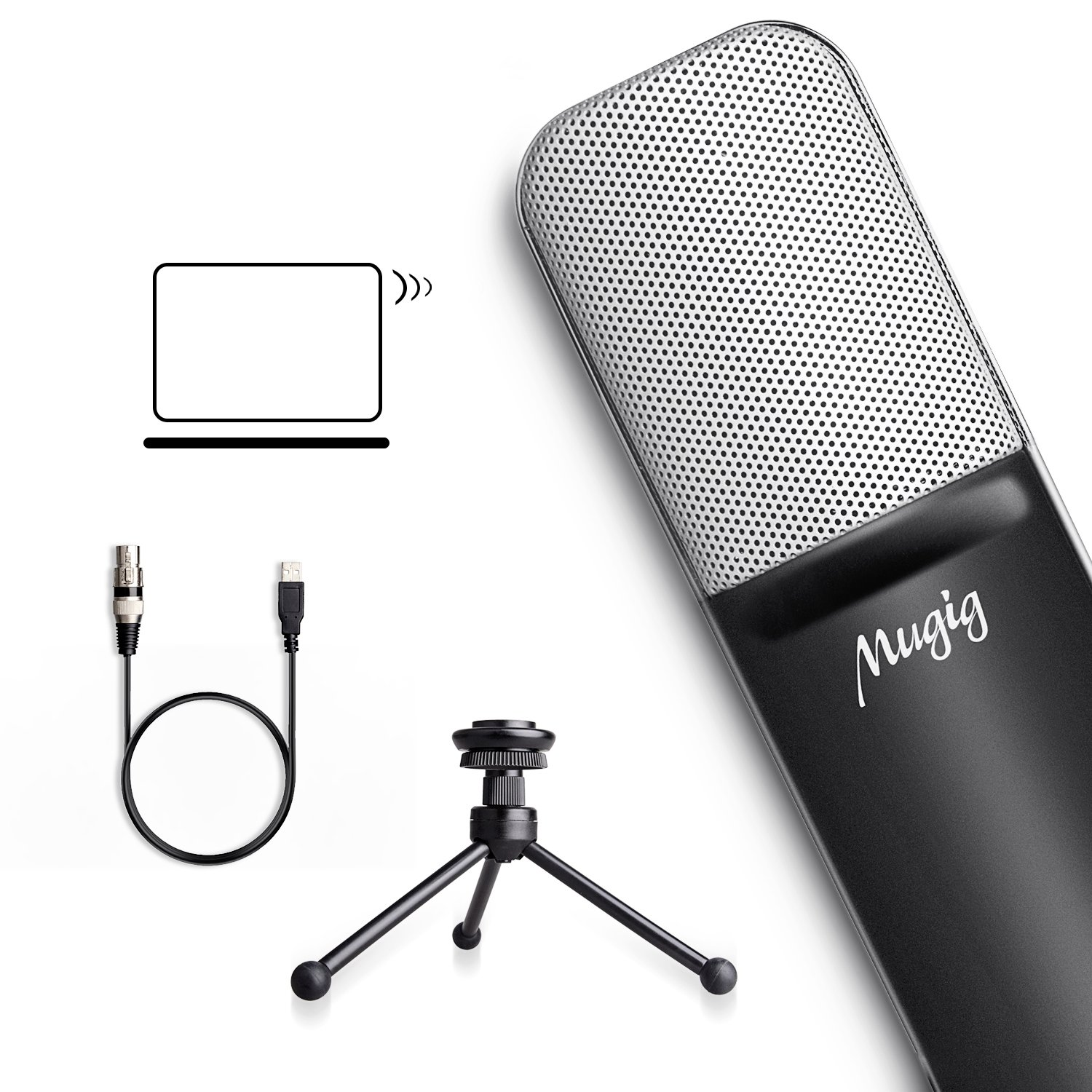 Mugig Condenser USB Microphone for PC Laptop Computer with Tripod Stand Portable Wired Recording USB Mic