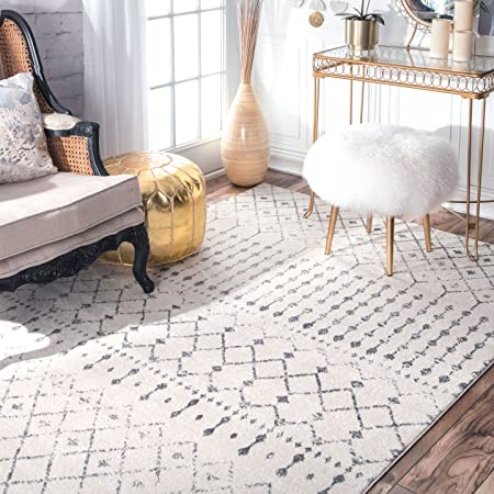nuLOOM Modern Moroccan Trellis Carpet Cream Area Rug Grey