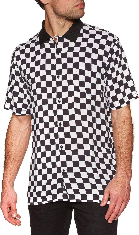 Vans Checkerboard Camp SS Camisa Manga Corta Hombre Blanco: Amazon ...