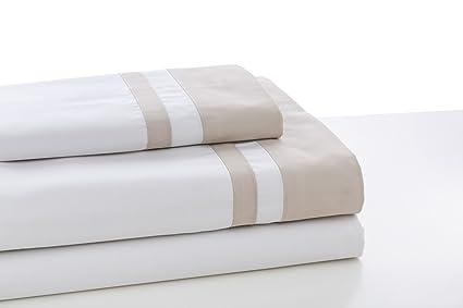 ESTELA - Juego de sábanas Lisos Marbella Color Hueso-Piedra - Cama de 105 cm