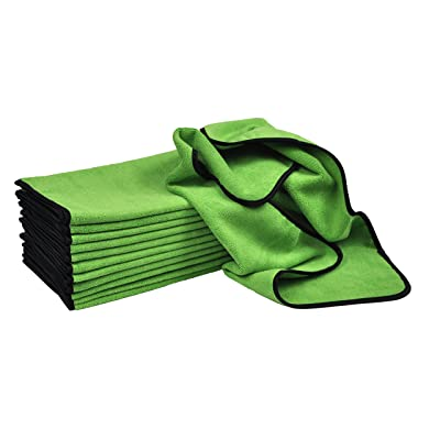 "Detailer's Preference Professional Cleaning and Fast Drying Premium Microfiber Towels 16"" x 24"" 390GSM Green 12 Pack: Automotive"
