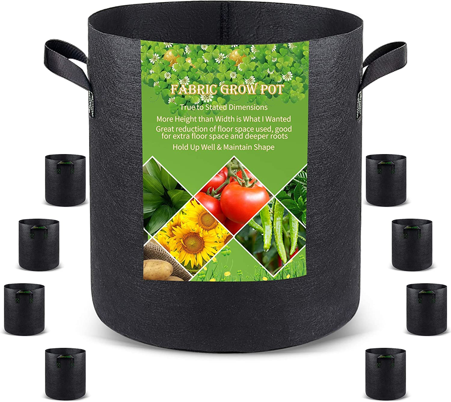 Grow Bags Tall, 7 Gallon 8 Pack Fabric Deep Grow Pots Deep with Handles for Vegetables, Heavy Duty Thickened Nonwoven Aeration Fabric 280G Black Plant Bag for Flowers and Trees