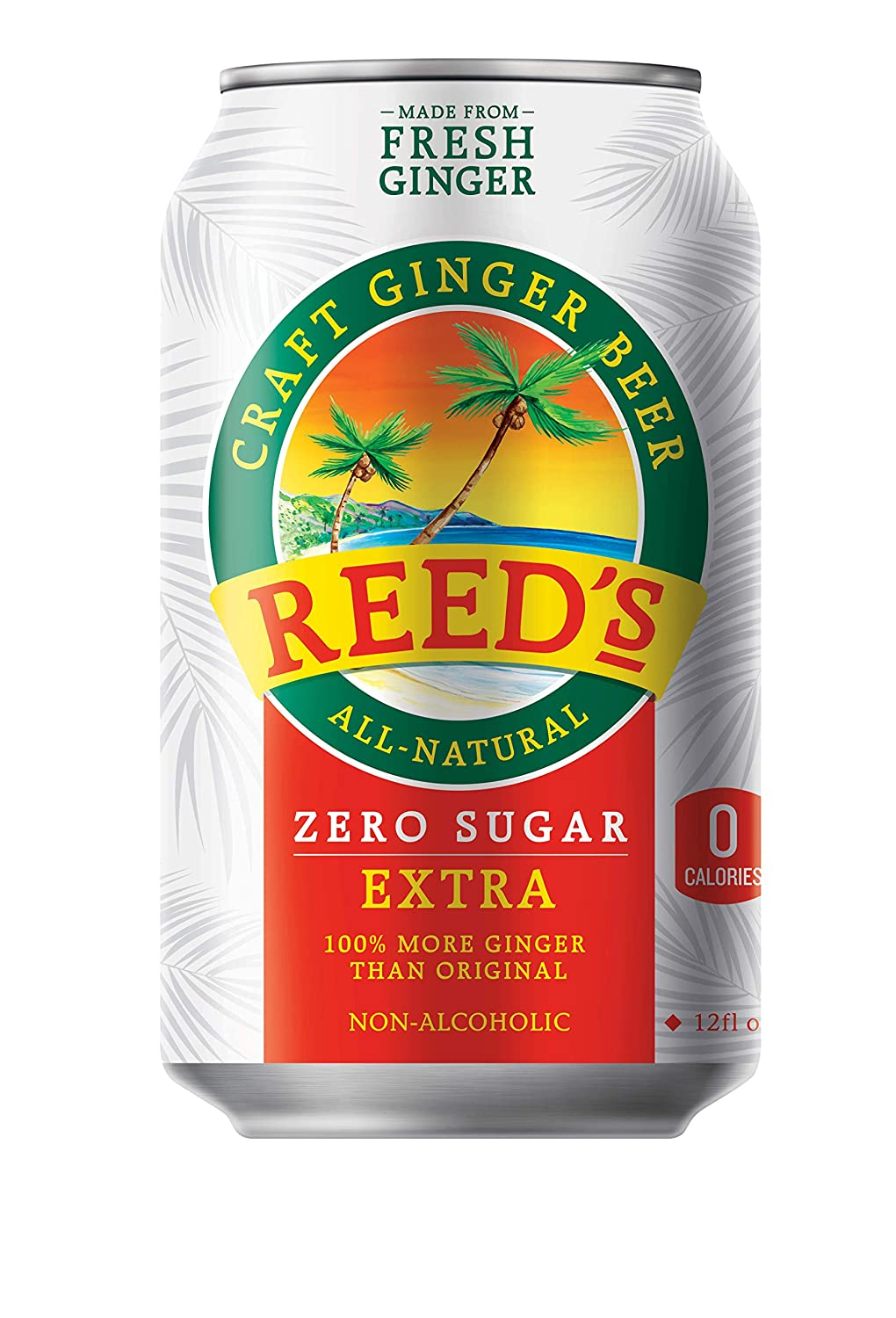 Reed's, Zero Sugar Extra Ginger Beer, Great Tasting All Natural Certified Ketogenic Soda Drink (12OZ Can)