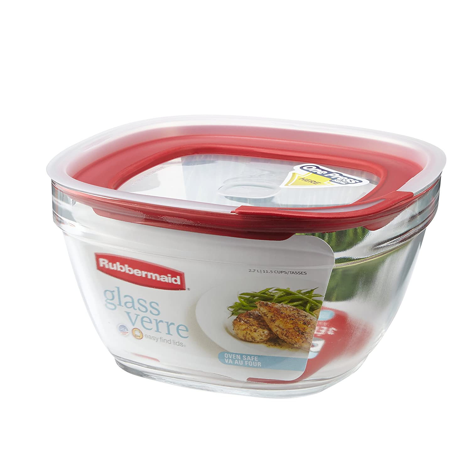 Rubbermaid Easy Find Lid Glass Food Storage Container 11-1//2 Cup 2856007