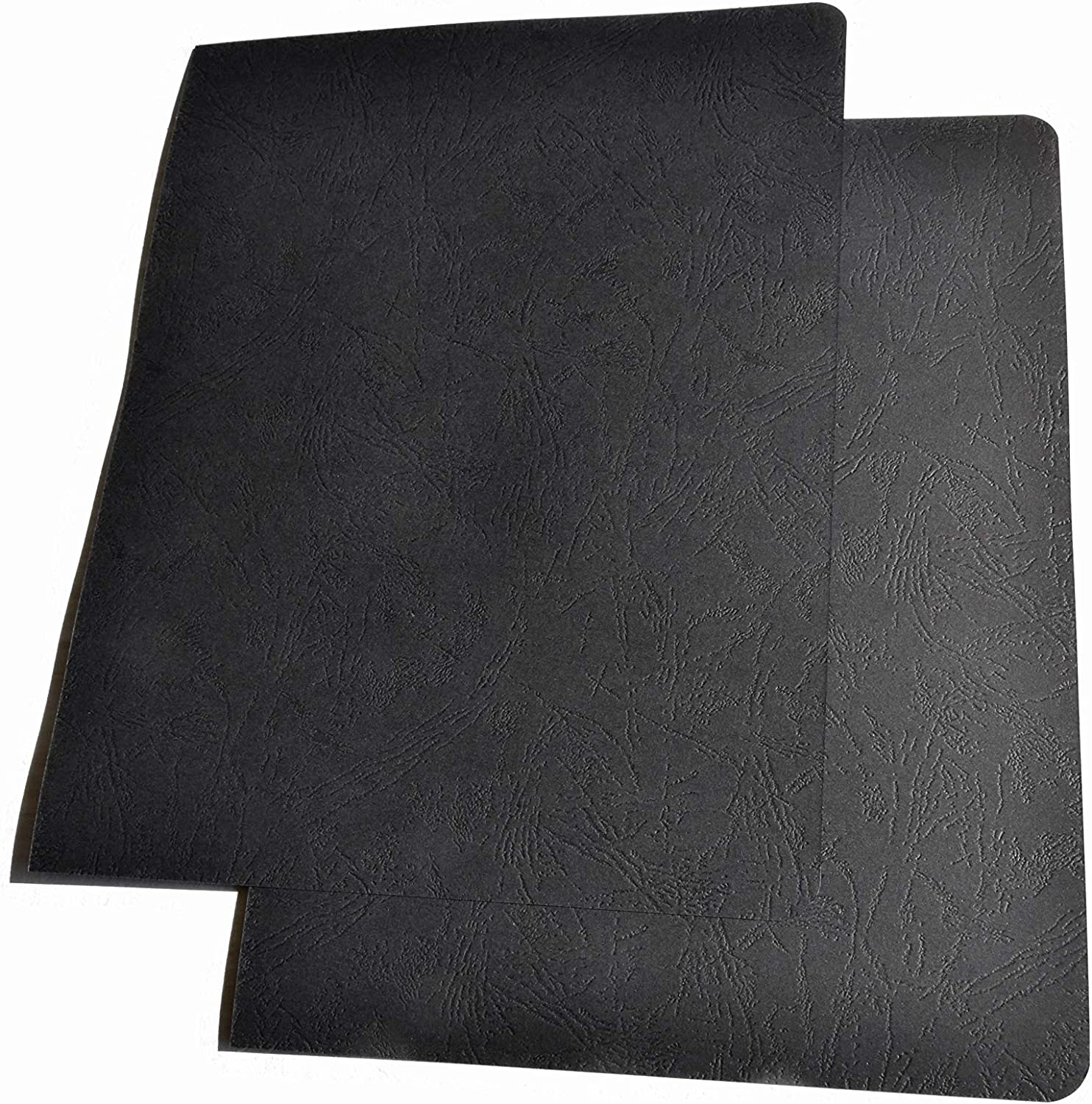 BNC Leather Texture Binding Presentation Paper Covers Pack of 100 Black Color Letter Size with Round Corner