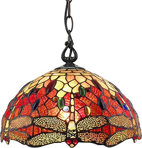 Amora Lighting Tiffany Style Hanging Pendant Lamp 14 Wide Stained Glass Red Dragonfly Jewels Antique Vintage Light Decor Restaurant Game Living Dining Room Kitchen Gift AM1034HL14B, Multicolored