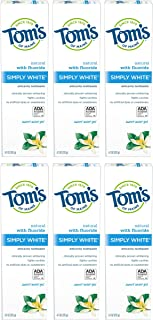 product image for Tom's of Maine Simply White Toothpaste Gel, Whitening Toothpaste, Natural Toothpaste, Sweet Mint Gel, 4.7 Ounce, 6-Pack