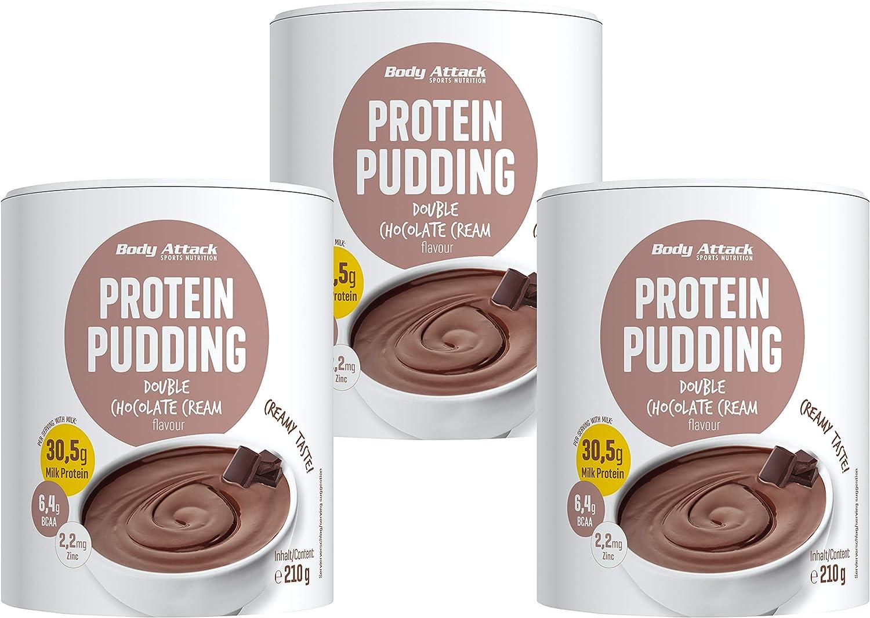 Body Attack budín de proteínas sin cocinar, 3x210g, Chocolate, budín en polvo rico en proteínas, sin aspartamo