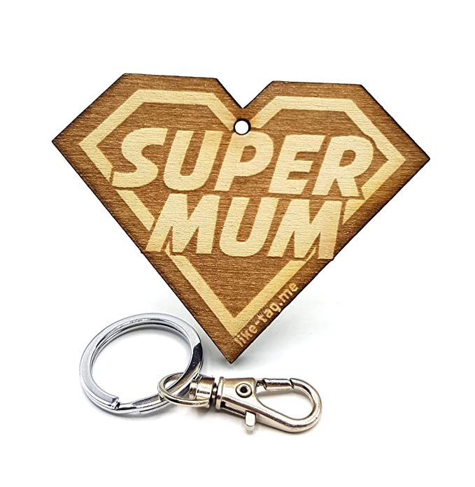 LIKY® Super Mum - Llavero Original de Madera Grabado Regalo para día de la Madre cumpleaños Colgante Bolsa Mochila