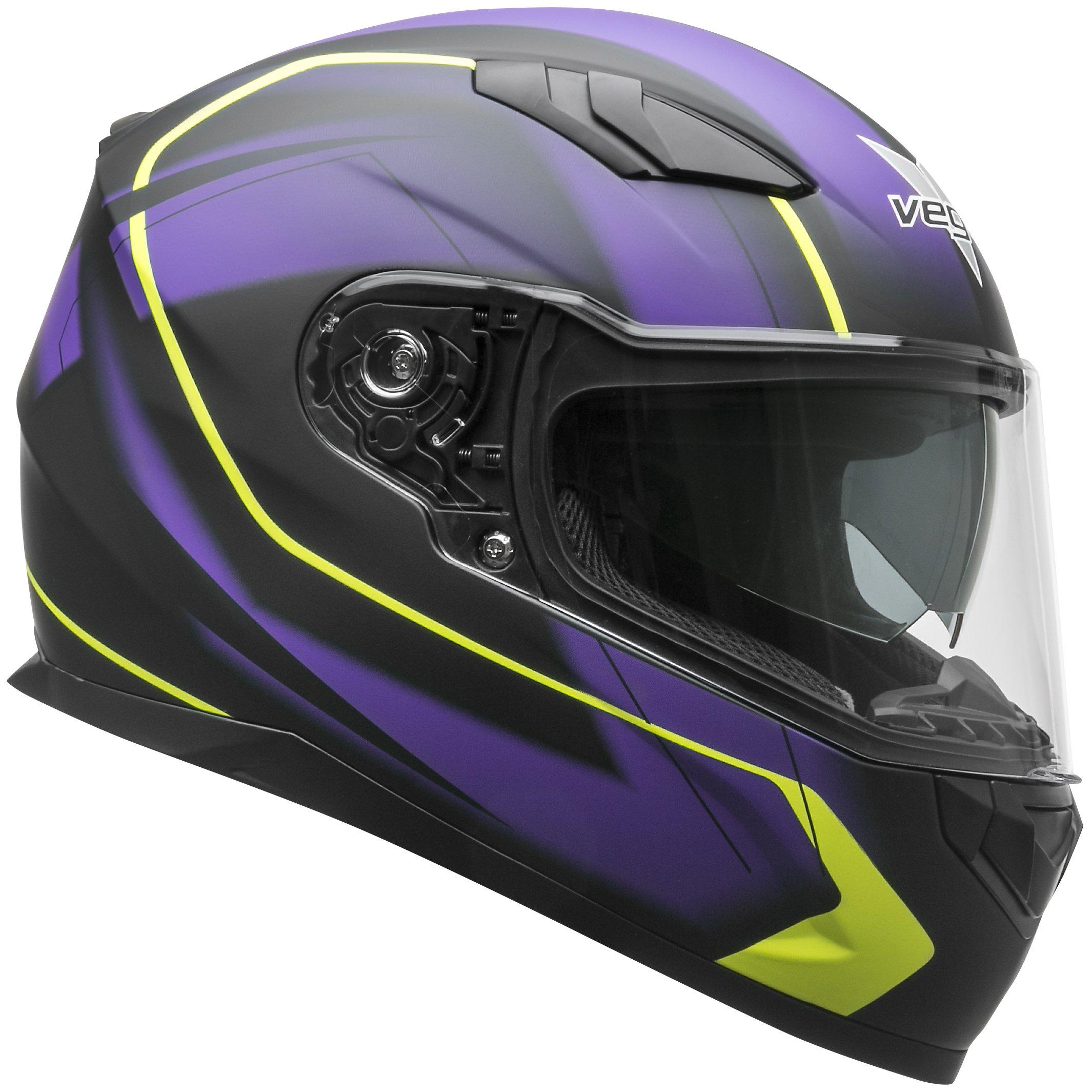 Vega Helmets 60030-462 RS1 Street Sunshield Motorcycle Helmet DOT Certified Full Facerbike Helmet for Cruisers Sports Street Bike Scooter Touring Moped, Bluetooth Comp (Purple Slinger Graphic, Small) by Vega Helmets