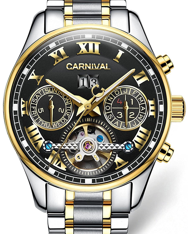 Gosasa Men 's Automatic Mechanical Tourbillon Watch防水光多機能ステンレスStellメンズウォッチブラックダイヤル B01MPWDKI4
