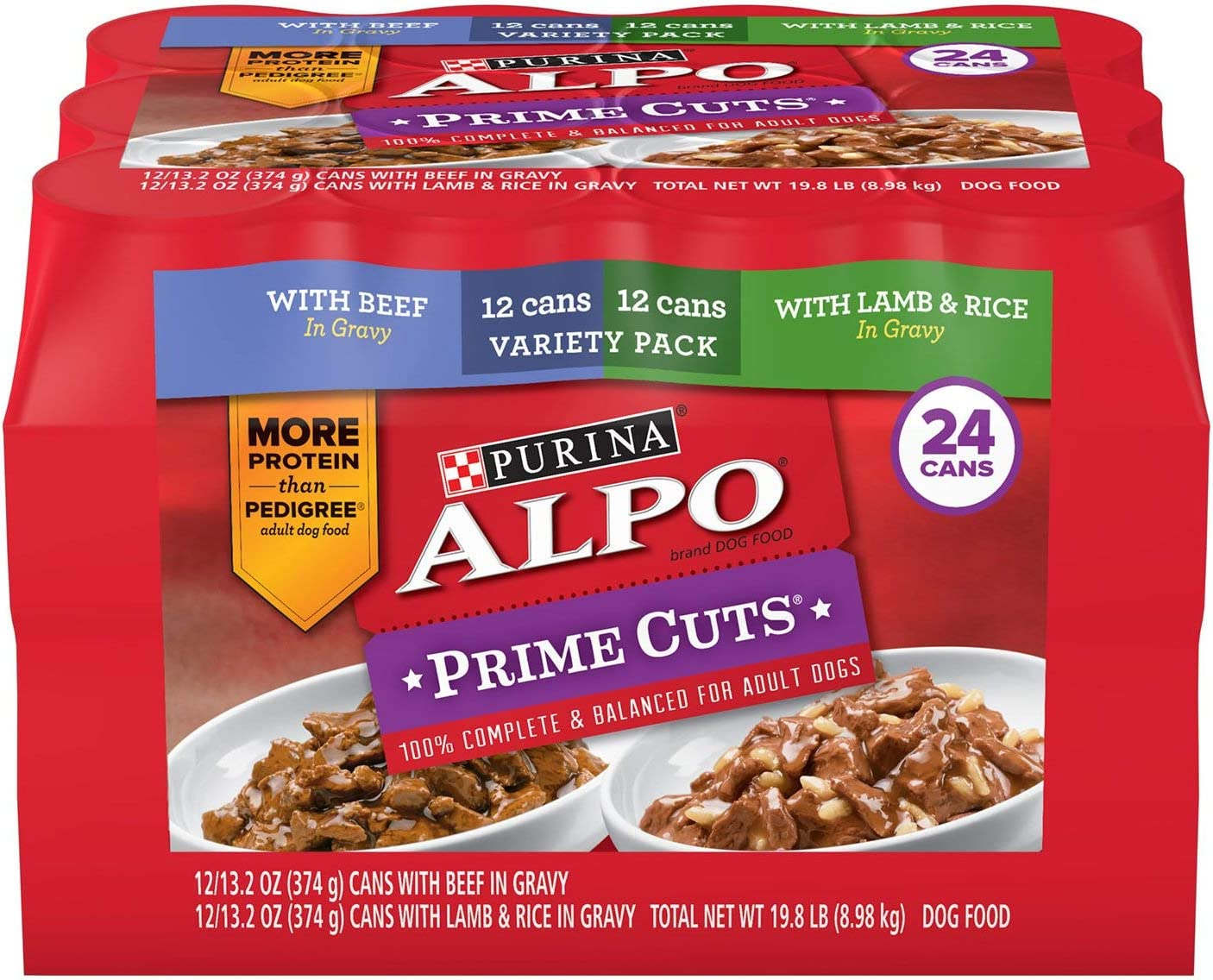 12 count Alpo Prime Cuts in Gravy Canned Dog Food Lamb /& Rice 13.2 oz