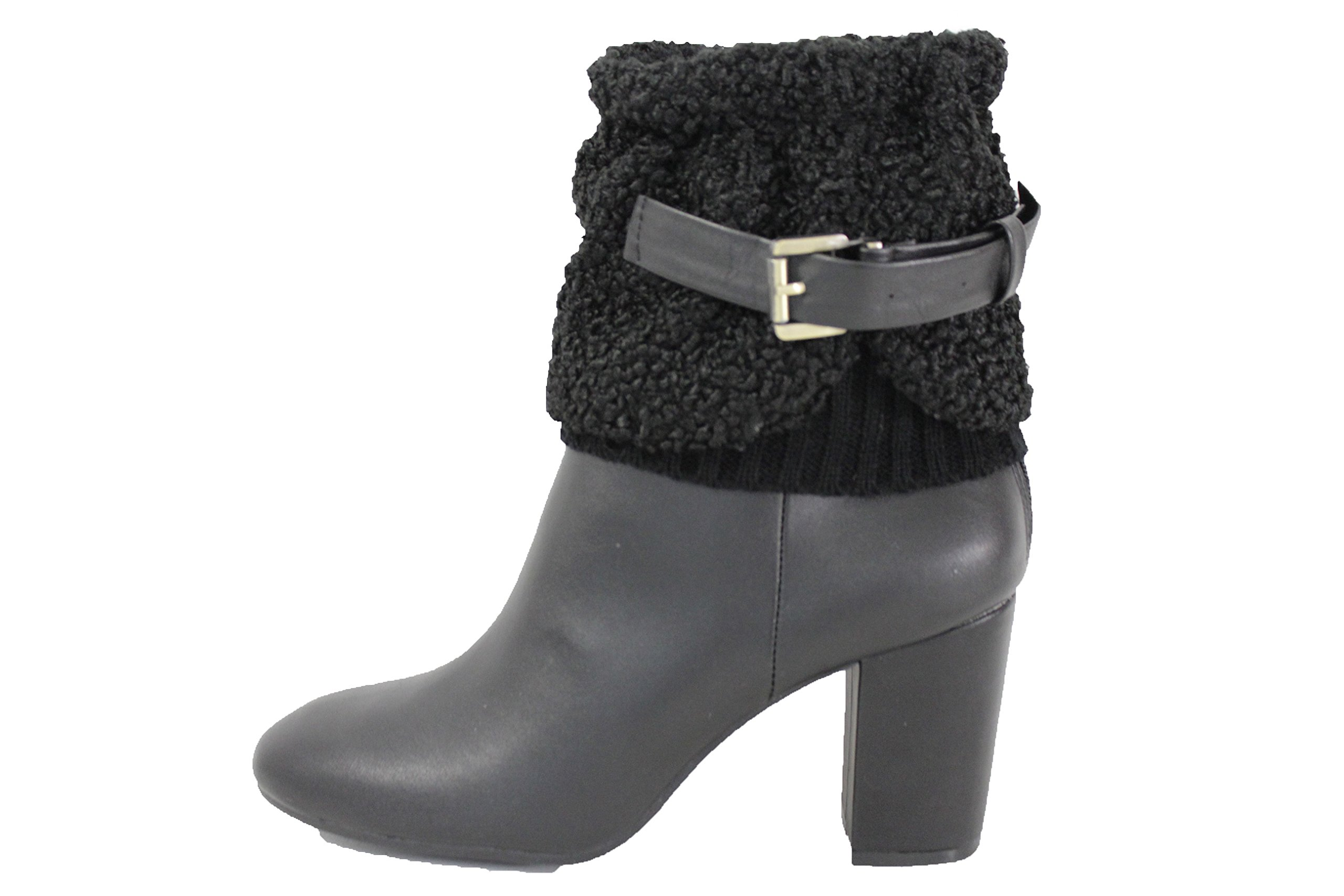 TFJ Women Fashion Boot Toppers Booties Slip Ons Black Knit Fabric Faux leather Belt Strap